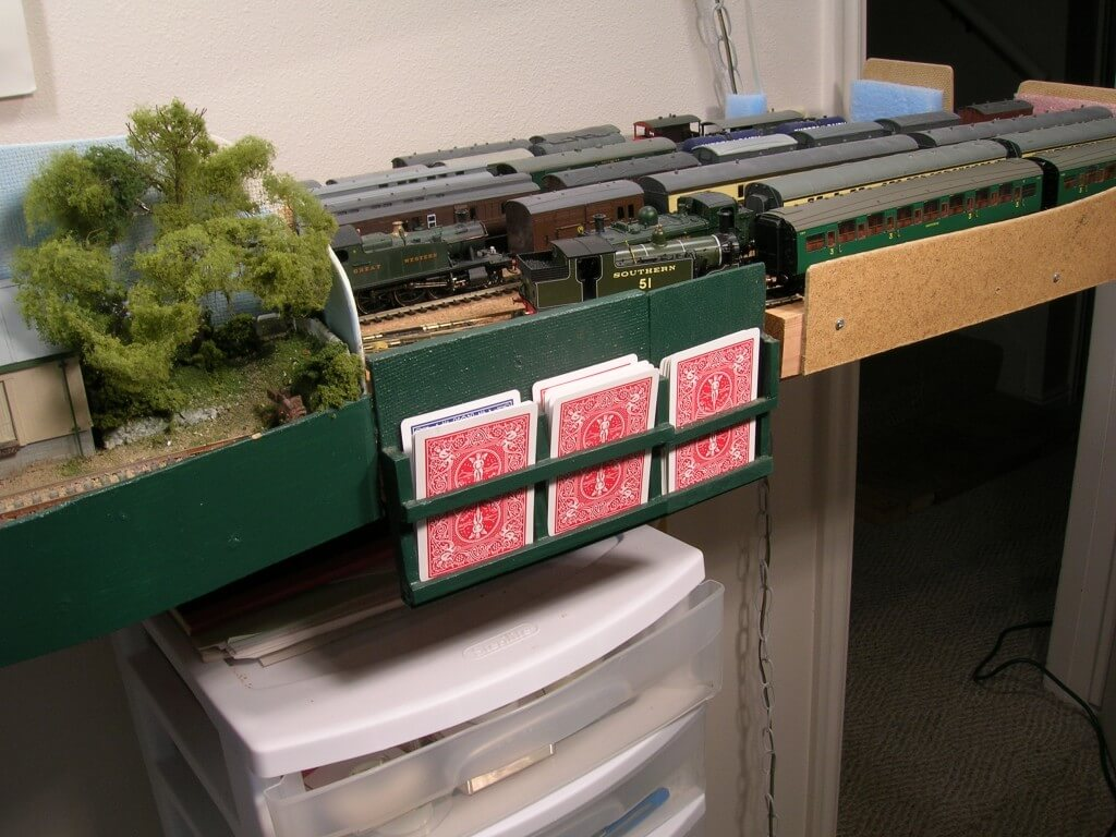 RM01-6 Wagon cards in holder at Staging Yard. Two are for wagons in trains, the third for wagons not currently on the layout.