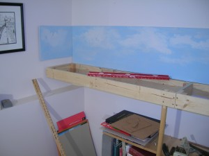 65/425 open frames and baseboards, LH end of frame work and support with back scene.