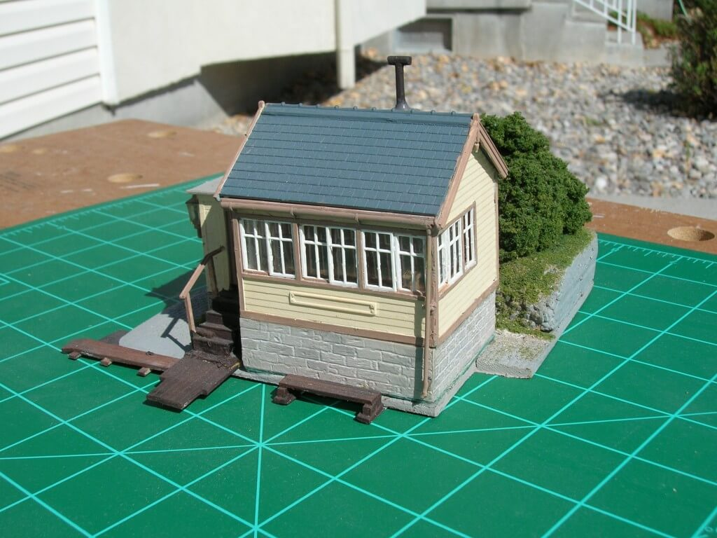"au-2301 Model Railway Kit Bashing - RH end. The nameboard is yet to be added, when installed it will read ""Hintock Signal Box"""